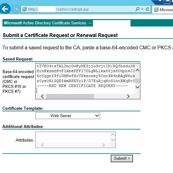 Certificates for vmware horizon view 6 with certreq copy the contents of the certreqtxt file into the request box and choose the web server certificate template click on submit yadclub Gallery